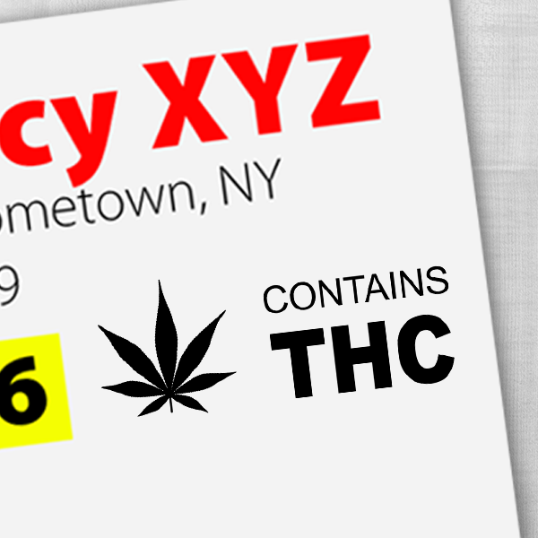 Contains THC Warning Rubber Stamp Imprint Example