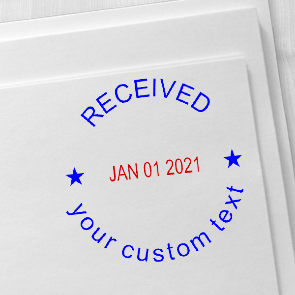 Custom Received Round Dater Stamp Imprint Example