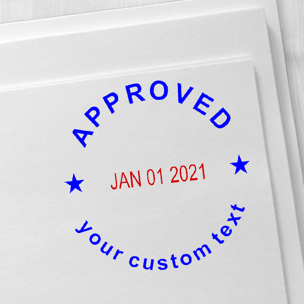 Custom Approved Round Dater Stamp Imprint Example