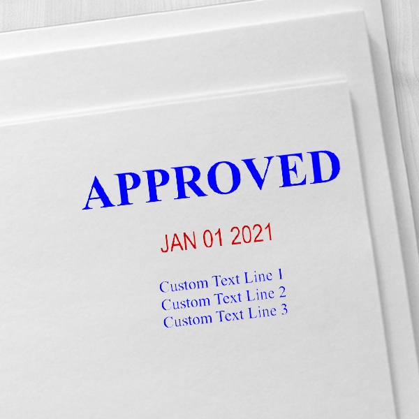 Approved Custom Three Line Dater Stamp Imprint Example