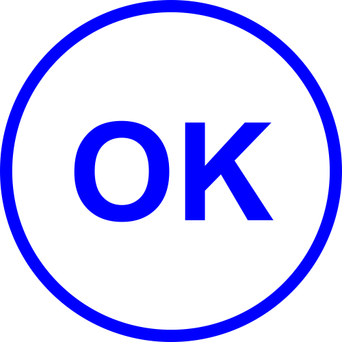 Round OK office stamp