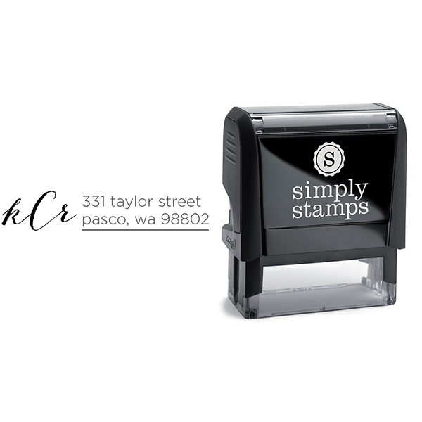 Courtney Script Monogram Address Stamp Body and Design