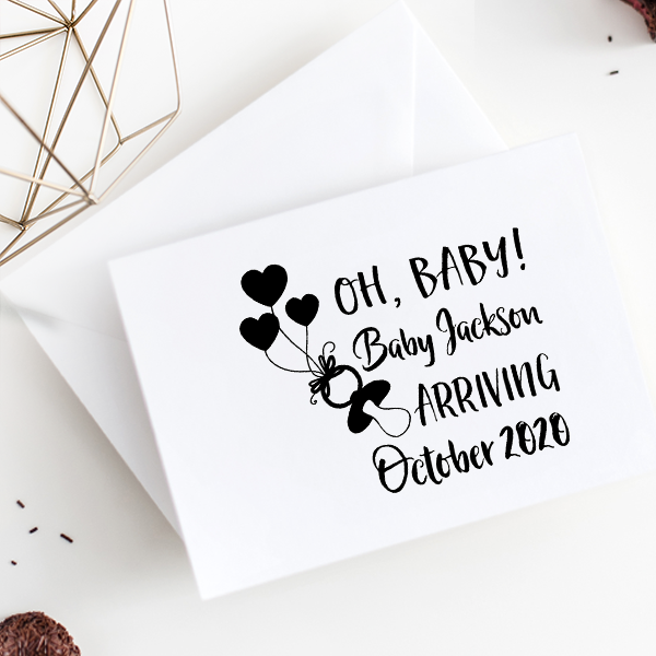 Custom Name Oh Baby! Announcement Craft Stamp Imprint Example