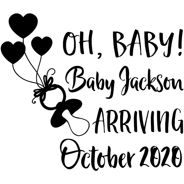 Custom Name Oh Baby! Announcement Craft Stamp