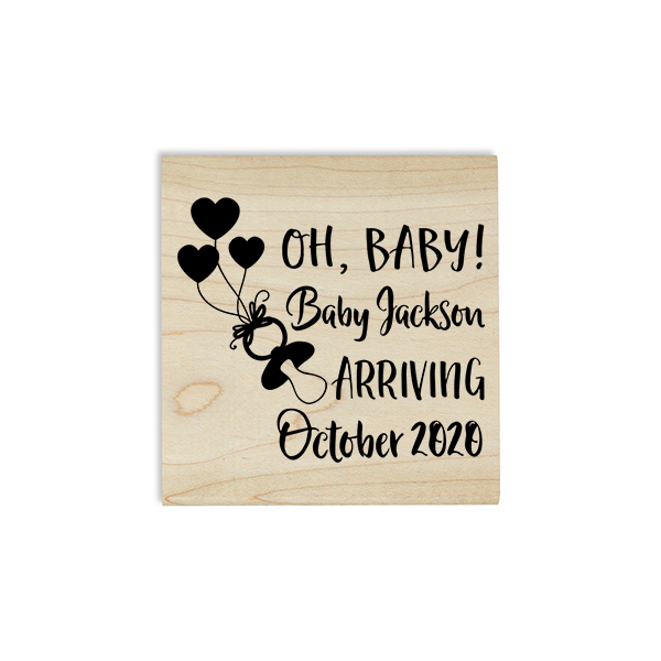 Custom Name Oh Baby! Announcement Craft Stamp Body and Design