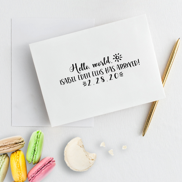 Custom Hello World Baby Announcement Craft Stamp Simply