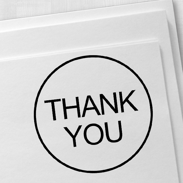 Thank You Round Border Stock Stamp Imprint Example on Paper