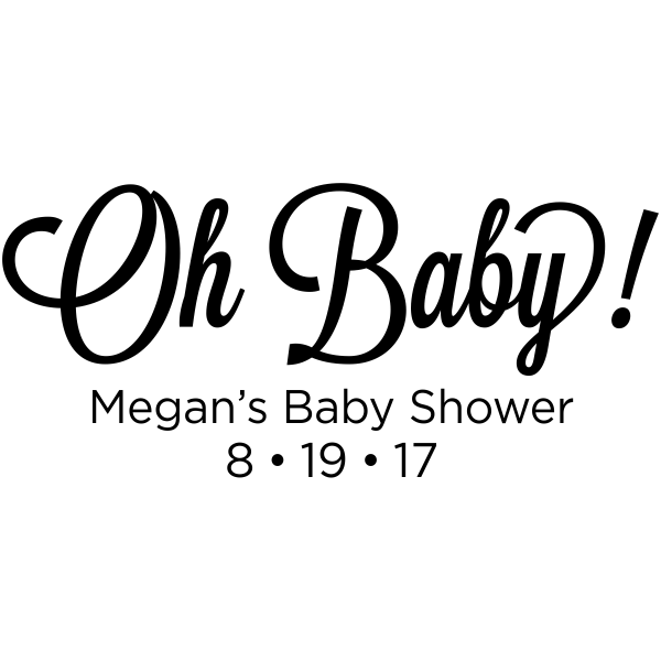 oh baby  baby shower rubber stamp