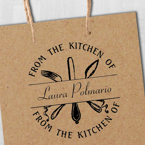 From the Kitchen Silverware Custom Stamp Imprint Example on Paper Tag