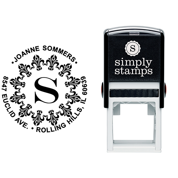 Fancy Monogram Address Stamp Body and Imprint