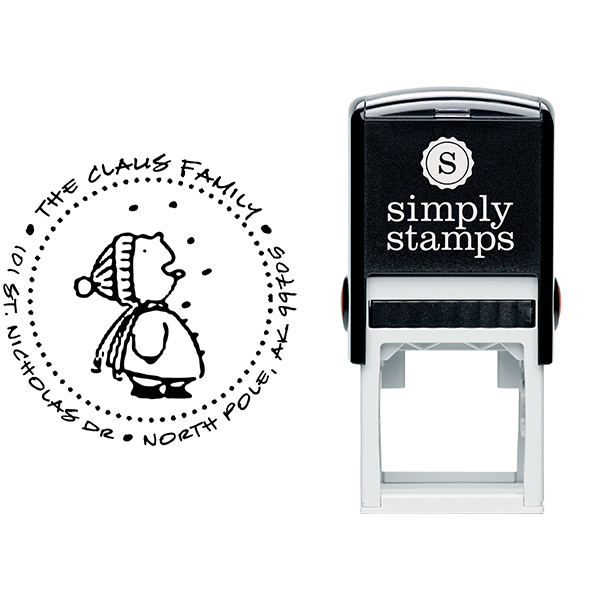 Cute Snowflake Catcher Holiday Address Stamp Body and Imprint