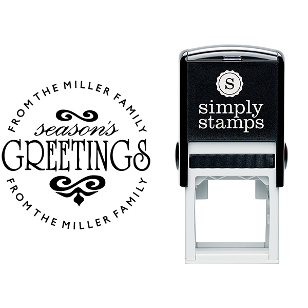 Season's Greetings Round Address Stamp Body and Imprint