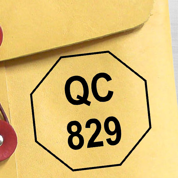 Octagon Shape QC Inspection Stamp Imprint Example