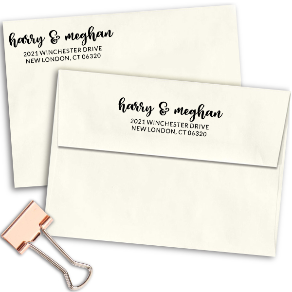Winchester Couple Return Address Stamp Imprint Example