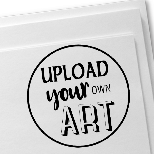 Round Border Upload Your Own Art Rubber Stamp Imprint Example