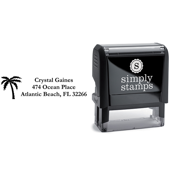 Palm Tree Address Stamp Body and Imprint