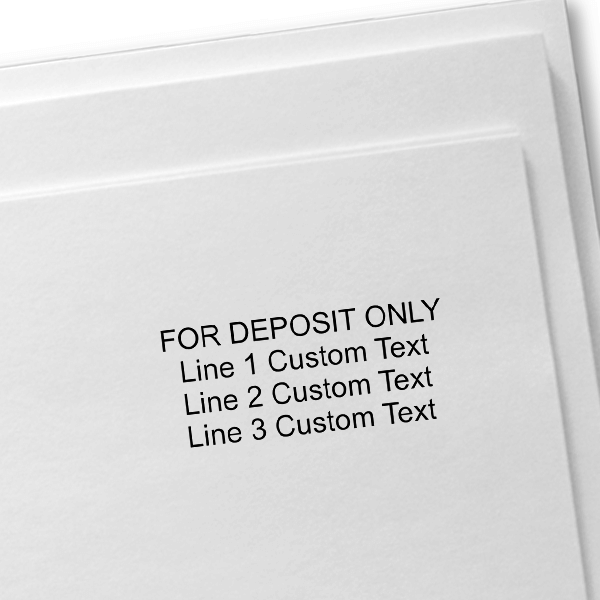 4 Line Self Inking For Deposit Stamp Imprint Example on Paper