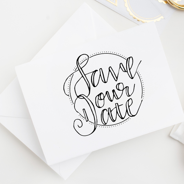 Circles and Dots Save the Date Stamp Imprint Example