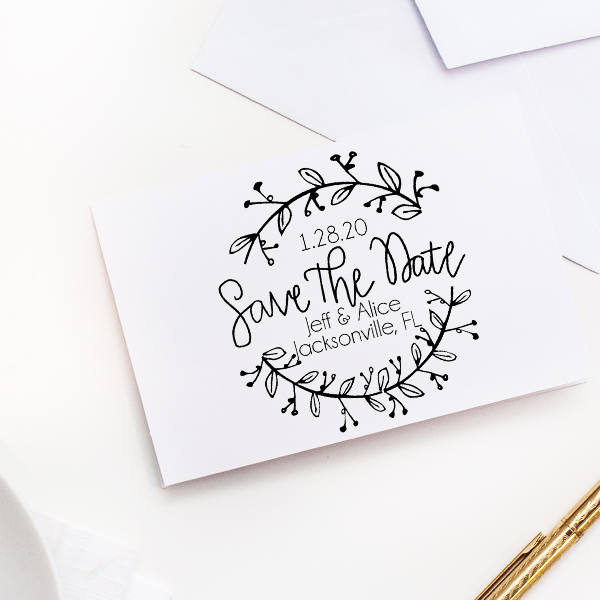 Round Garland Save the Date Stamp Imprint Example