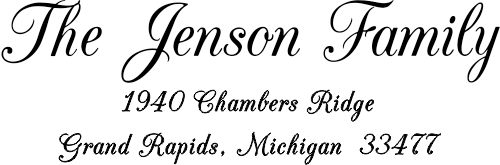 Jenson Family Handwritten Address Stamp