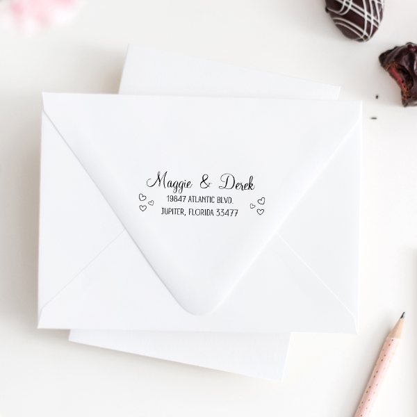 Couple Hearts Handwritten Address Stamp Imprint Examples on Envelopes