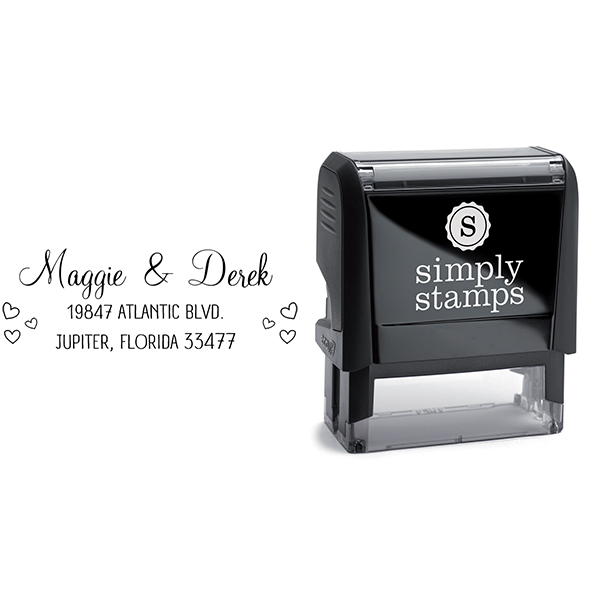 Couple Hearts Handwritten Address Stamp Body and Imprint