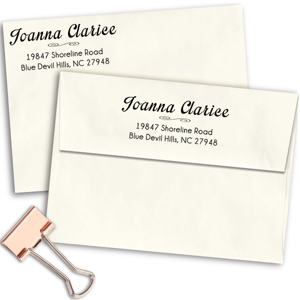 Clarice Handwritten Address Stamp Imprint Examples on Envelopes