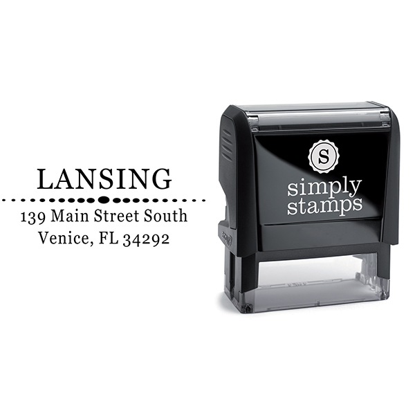 Lansing Deco Oval Circles Address Stamp Body and Imprint