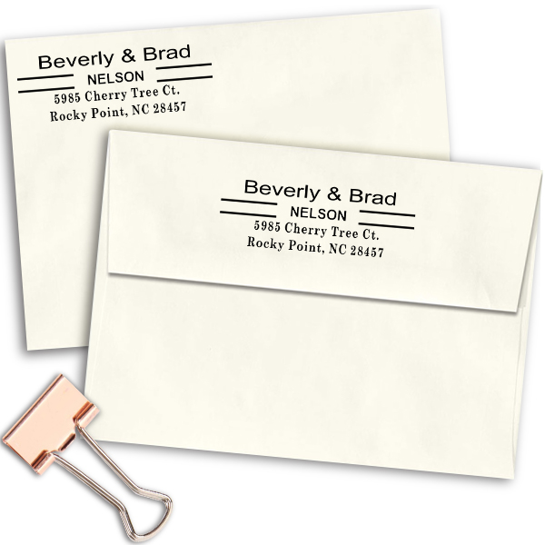 Double Line Last Name Address Stamp Imprint Examples on Envelopes