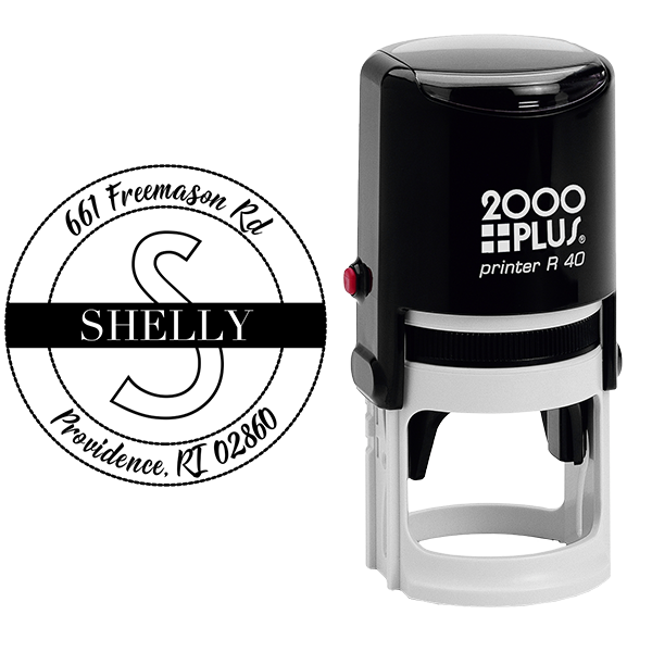 Shelly Return Address Stamp Body and Design