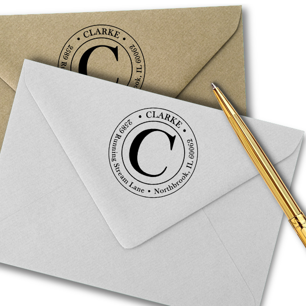 Clarke Large Initial Round Address Stamp Imprint Examples on Envelopes