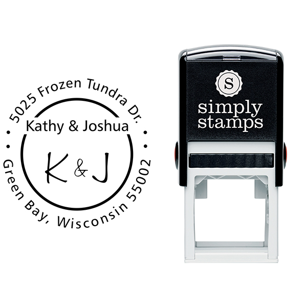 First Names Initials Round Address Stamp Body and Imprint