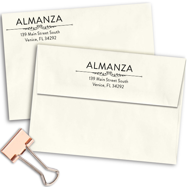 Almanza Deco Rubber Address Stamp Imprint Examples on Envelopes