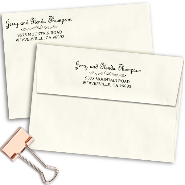 Thompson Heart Deco Rubber Address Stamp Imprint Examples on Envelopes