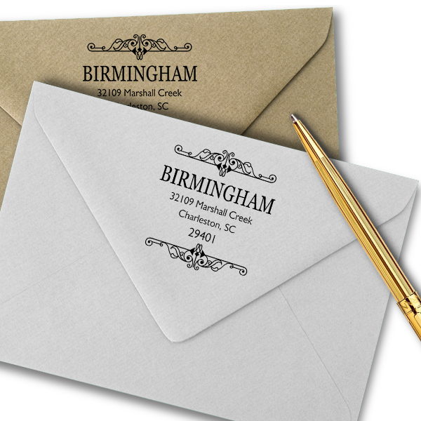 Birmingham Square Vintage Address Stamp Imprint Examples on Envelopes