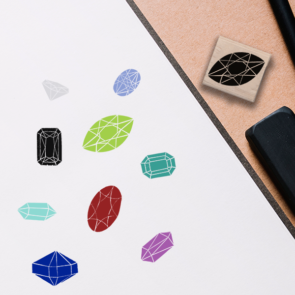 Marquise Peridot Stamp Lifestyle Photo and Imprint Example