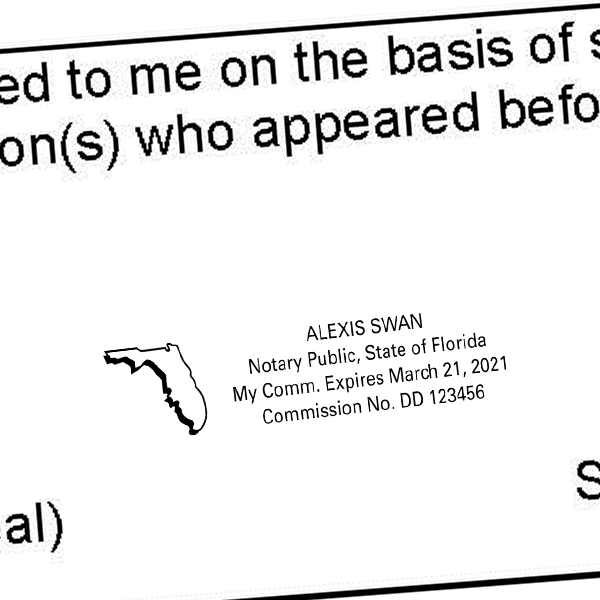 Florida Notary Public Seal State Shape Imprint Example