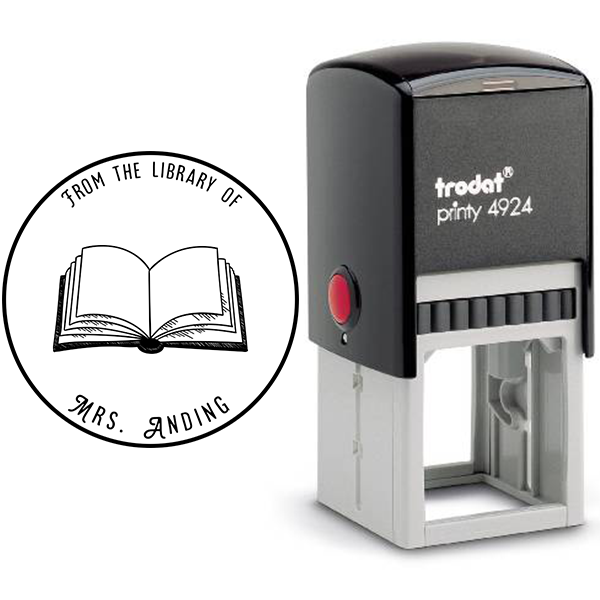 Round Open Book Library Stamp