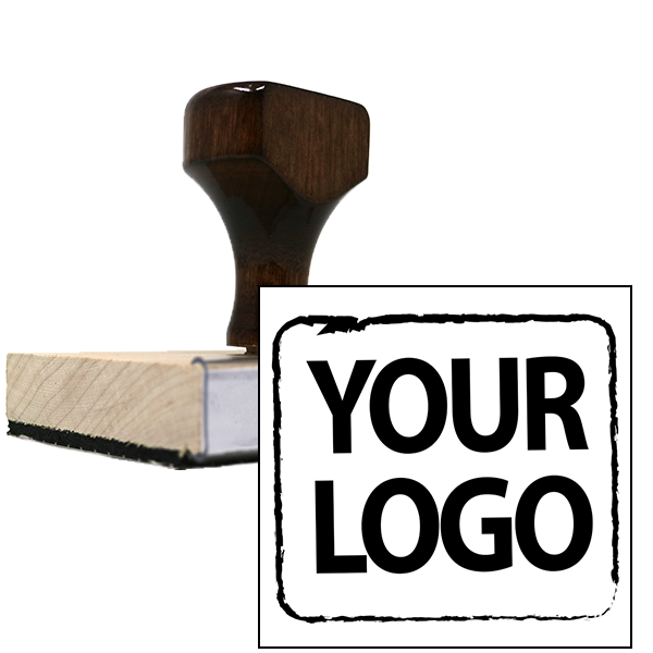 Small Square & Round Wood Handle Logo Stamp