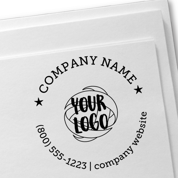 Logo with Custom Text Wood Handle Hand Stamp