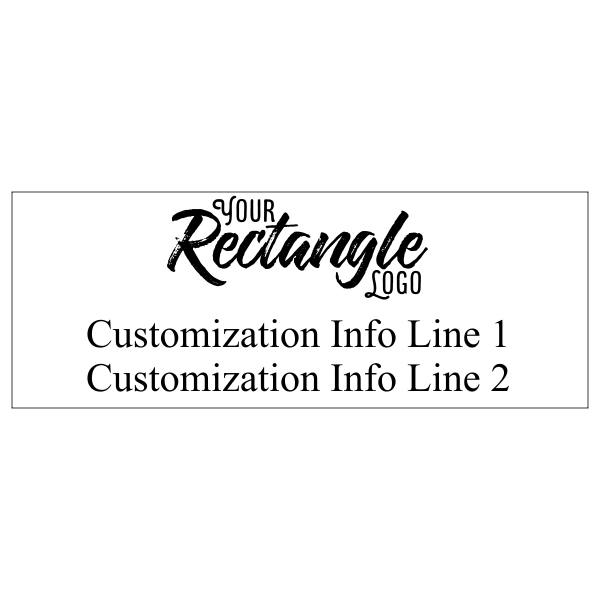 Two Line Rectangular Logo Hand Stamp with Wood Handle