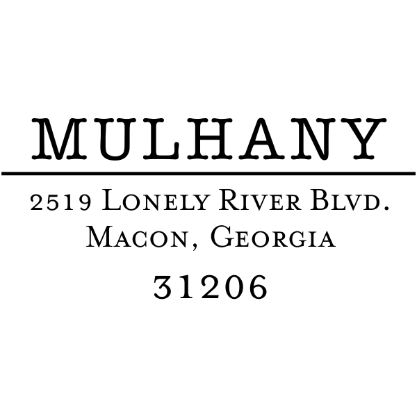 Mulhany Wood Handle Address Stamp