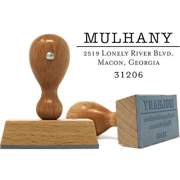 Mulhany European Wood Handle Address Stamp