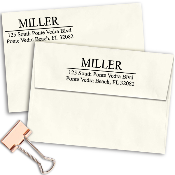 Last Name Address Stamp on envelopes