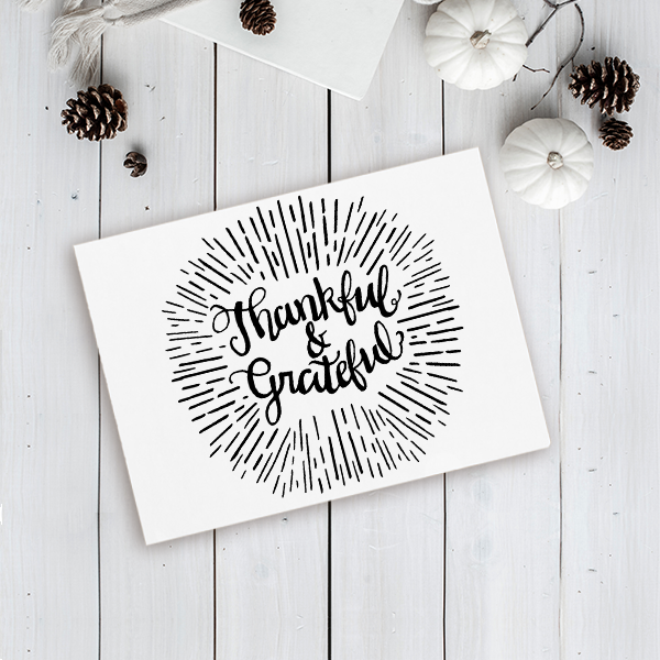 Thankful & Grateful Craft Stamp Imprint Example
