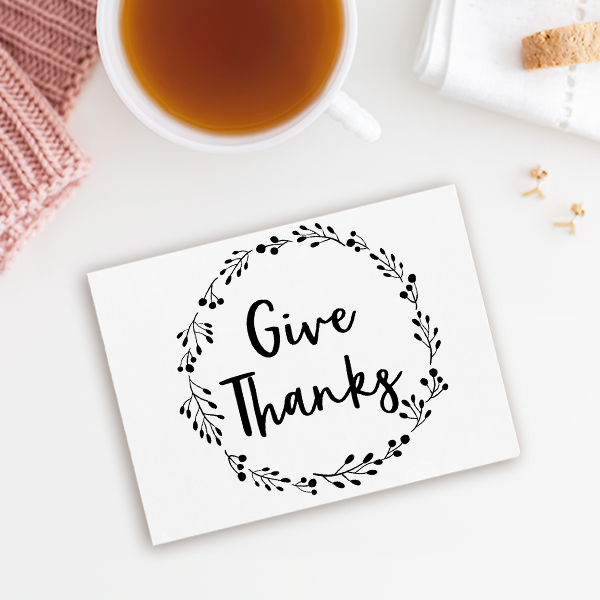 Give Thanks Wreath Craft Stamp Imprint Example