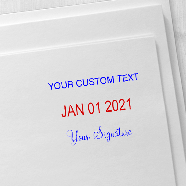 Trodat Professional Custom Text With Your Signature Bottom Stamp Imprint Example