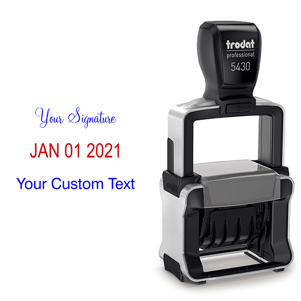 Trodat Professional Custom Text With Your Signature Top Stamp Body and Design