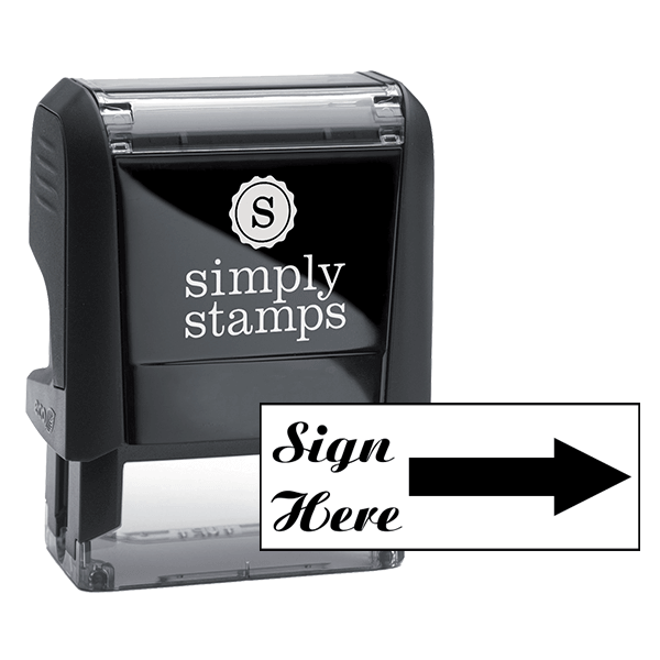 Sign Here Script Font Self Inking Stamp