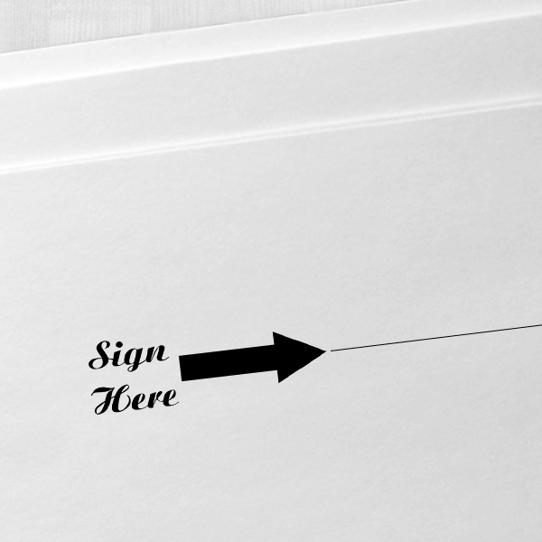 Sign Here Script Font Self Inking Stamp Imprint Example